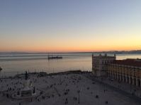 Lisbon sunset seen from the top of the Rua Augusta Arch