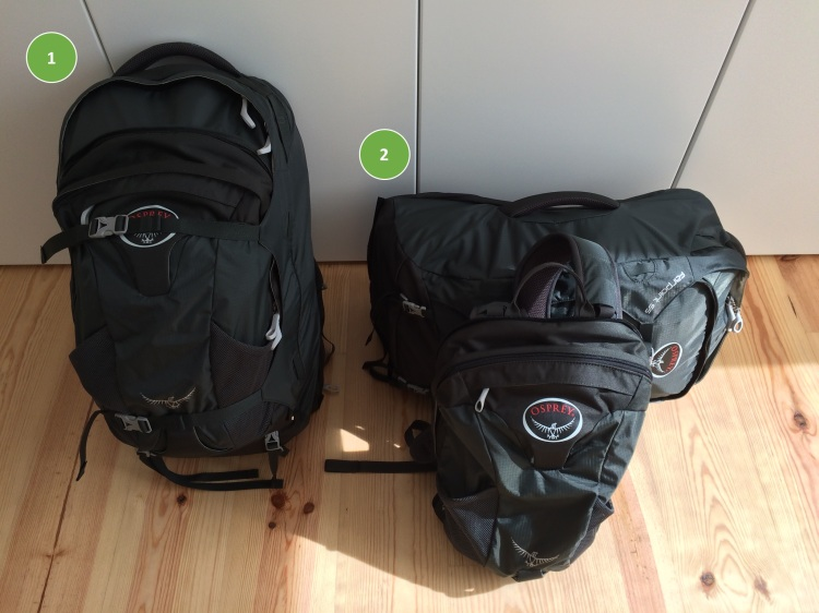 Our backpacks hold approximately 30 liters, with an extra detachable 15 liter daypack