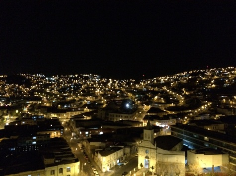 Our first glimpse of Valparaiso: a kindled skyline