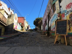 A view from the bottom of Cerro Alegre, in probably the most well known street in Valparaiso