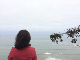 Jules contemplates the Pacific Ocean on our first morning in Lima