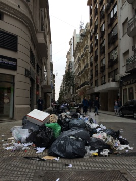 Streets were littered with trash in the day of the general strike, but everything was spotless clean the day after