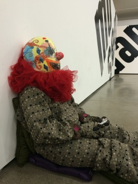 This clown in MAM (the Museum of Modern Art) was actually a person, scared the living daylights out of us!