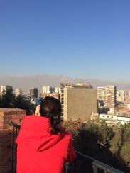 Jules finally getting a glimpse of the Andes from Santiago!