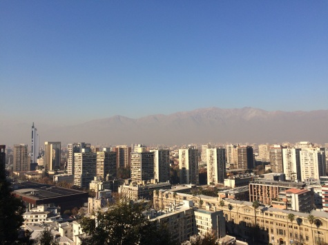 The smog blurs out things a bit, but there they are, the Andes, seen from the top of 'Cerro Santa Lucia'!