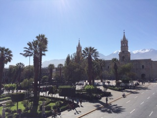 Arequipa's beautiful 'Plaza de Armas', with the Andes in the background