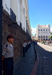 There was a rehearsal for the upcoming Pope visit going on 'Plaza Grande'