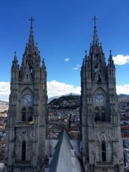 """Facade of 'La Basilica del Voto National', a neogothic 19th century church, that still remains """"unfinished"""". The local legend says that the end of the world will come upon its completion (nice excuse :)"""