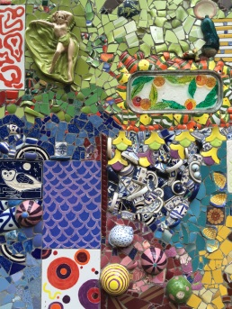 A closeup of the Ceramic Garden, in Santa Cruz