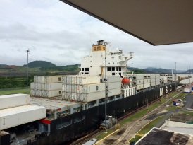 A Panamax going through the canal's locks: there's less than half a meter of clearance on either side!