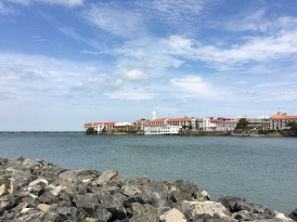 The old and the new: on one side, 'Casco Viejo', where Panama was founded...