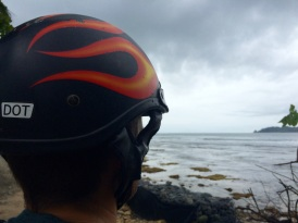Verne appreciating the beauty of the calm sea (but he kept his helmet on, just in case)