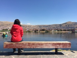 Jules looking at Puno from the shores of lake Titicaca