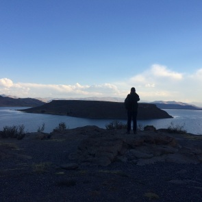 Verne looking at the natural park reserve near Sillustani, where vicunas live under protection