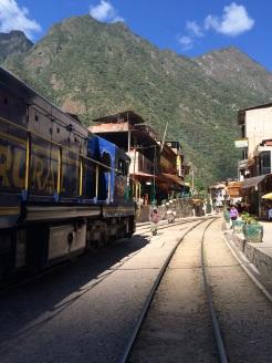 The train lines runs right through Aguas Calientes