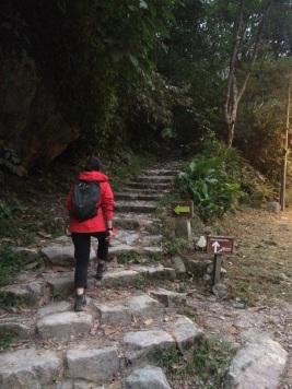 Jules starts the climb to Machu Picchu