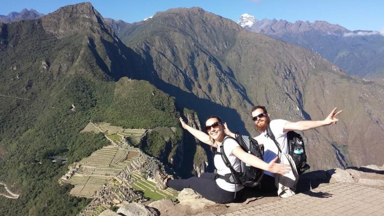 João and Andyara at the top of Huyana Picchu