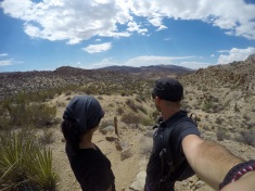 Looking at the way forward, in the begining of our hike in the Joshua Tree Park