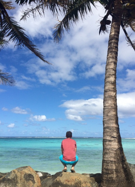 Verne looking at the waves breaking at the end of the reef