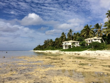 Some of the houses in Rarotonga are perched right on the shore