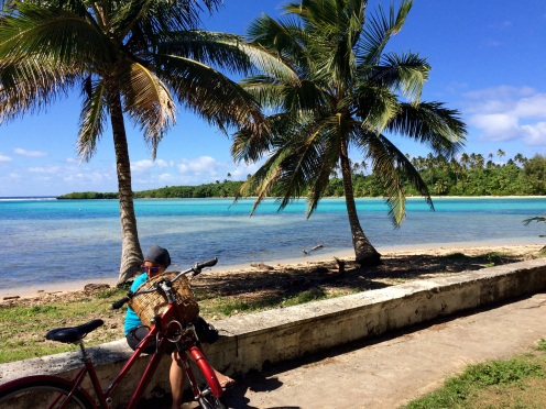 Admiring the view after arriving to Muri Beach