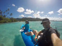 Leaving our little island at Muri Beach, with the wind on our backs
