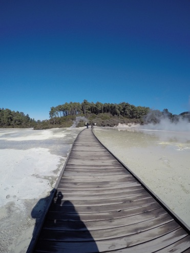 A lot of the ground at Wai-o-Tapu is close to 100 degrees Celsius, so boardwalks are necessary