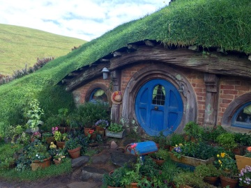 Entrance to one of the forty four Hobbit holes you can visit in Hobitton. Unfortunately we are not invited to go inside...