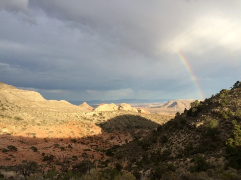A rainbow over the Red Rock, after some rain that caught Verne in the middle of one of his hikes