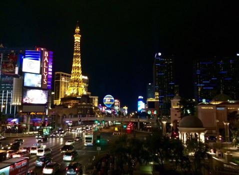 Las Vegas' strip at nightfall