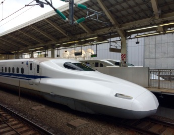 We took a bullet train from Tokyo to Kyoto