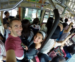 Jules and Verne in a packed Kyoto city bus