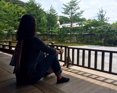 Jules admiring the peaceful beauty of the Kodaiji temple stone garden