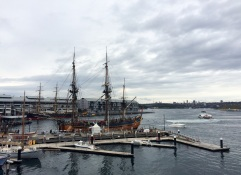 View of the Endeavour, the replica of Captain James Cook's ship at Darling Harbor