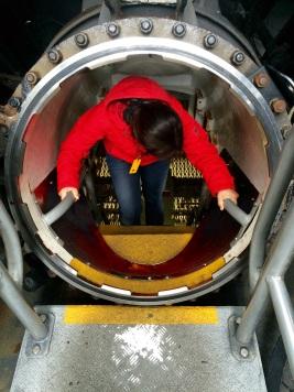 Jules entering the Onslow submarine at Darling Harbor