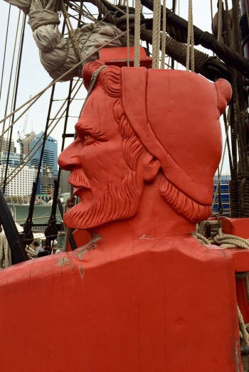 Wood sculpture in the Endeavour, a replica of Captain Cook's ship