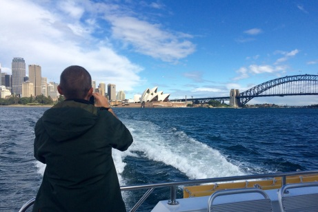 Jules captures Verne snapping a picture of the Sydney skyline