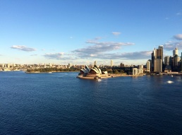The Sydney Opera house viewed from the Harbor Bridge