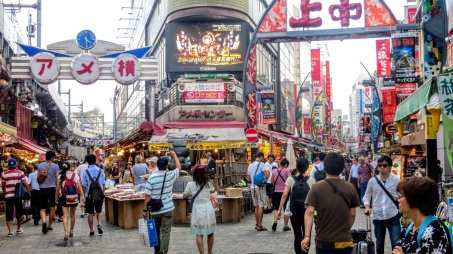 A busy street market