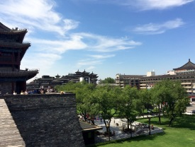 Nice garden view from one of the corners of Xi'an city wall