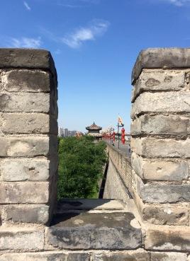 Peeking through one of the battlements in Xi'an city wall