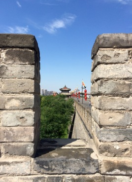 Peeking through one of the battlements in Xi'an city wall
