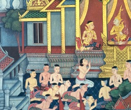 Most of the temple inner walls are ornamented with paintings depicting important moments of Buddhist and Thai history