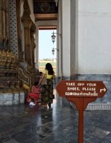 No shoes are allowed inside Buddhist temples
