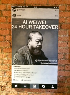 ... And others openly criticize the Chinese government: this portrait of Ai Weiwei refers to the 'Great Wall', which blocks access to Instagram, Facebook and other sites (like this blog, for instance)