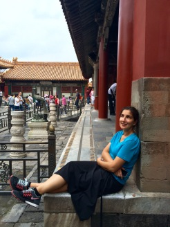 Jules relaxes after walking through the never ending mazes of the Forbidden City