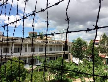 Wired fence all around the S-21 prison (now Tuol Sleng Genocide Museum) to prevent suicides...