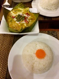 Fish amok, a tradicional Cambodian dish, served in banana leaves