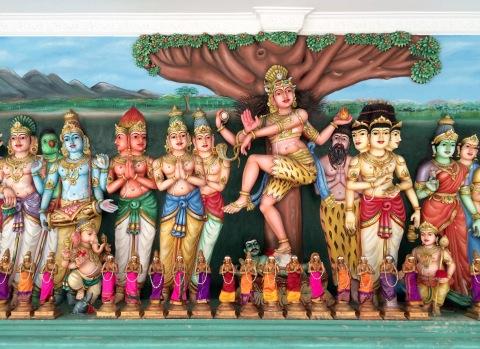 A representation of Hindu deities in a Kuala Lumpur temple