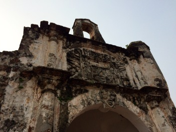The Famosa fortress, built by the Portuguese after arriving to Malacca, was mostly destroyed by the British in the 19th century. Sir Stamford Raffles (the founder of Singapore) happened to be visiting Malacca at the time and managed to save this gate house